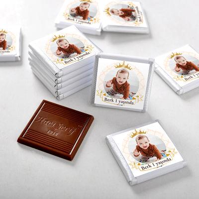 Hacı Şerif - 1 Yaş Fotoğraflı Erkek Bebek Çikolatası (48 Adet Madlen+Sunum Kutusu)
