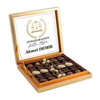 Hacı Şerif - 5 Nisan Avukatlar Gününe Özel Kahve Drajeli Special Çikolata 290g Gold Kutu Avukata Hediye