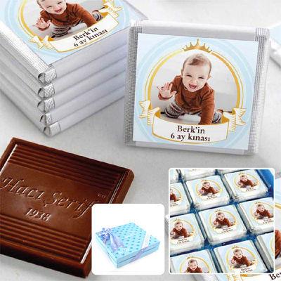 Hacı Şerif - 6 Ay Kınası Fotoğraflı Erkek Bebek Çikolatası (32 Adet Madlen+Sunum Kutusu)