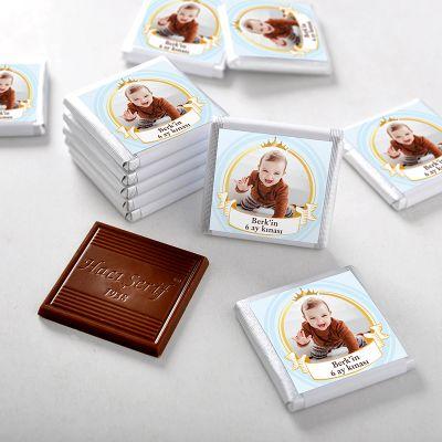Hacı Şerif - 6 Ay Kınası Fotoğraflı Erkek Bebek Çikolatası (72 Adet Madlen+Sunum Kutusu)