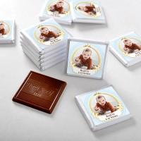 - 6 Ay Kınası Fotoğraflı Erkek Bebek Çikolatası (72 Adet Madlen+Sunum Kutusu)