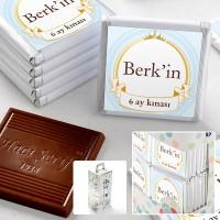 - 6 Ay Kınası İsme Özel Erkek Bebek Çikolatası (70 Adet Madlen)