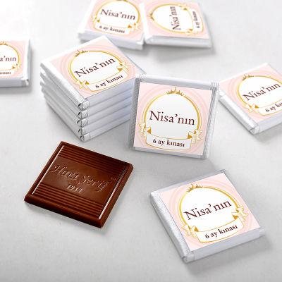 6 Ay Kınası İsme Özel Kız Bebek Çikolatası (70 Adet Madlen)