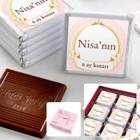 - 6 Ay Kınası İsme Özel Kız Bebek Çikolatası (32 Adet Madlen + Sunum Kutusu)