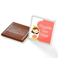 Kız Bebek Çikolatası (72 Adet İsimli Madlen Çikolata + Sunum Kutusu) - Thumbnail