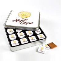 Afiyet Olsun (32 Adet Madlen Çikolata) Metal Kutu - Thumbnail