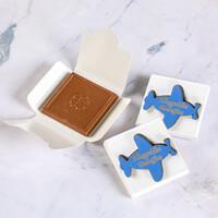 Hacı Şerif - Ahşap Mavi Uçak Dekorlu Bebek Çikolatası