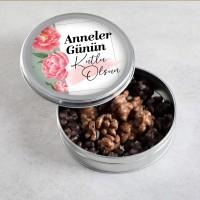 Hacı Şerif - Anneler Günü Hediyesi Sütlü-Bitter Antep Fıstıklı Roş Çikolata (Metal Kutu)