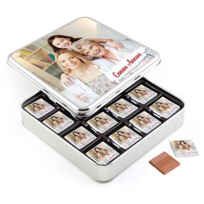 Anneye Fotoğraflı Hediye 32 Adet Madlen Çikolata (Metal Kutu)