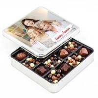 Hacı Şerif - Anneye Fotoğraflı Hediye Kahve Drajeli Special Çikolata (Metal Kutu)