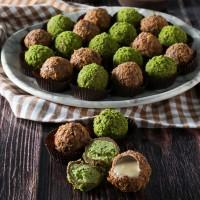 Tahinli - Antep Fıstıklı Truffle Çikolata Bordo Kutu 22 Adet - Thumbnail