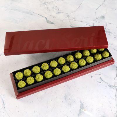 Antep Fıstıklı Truffle Çikolata Bordo Kutu 22 Adet