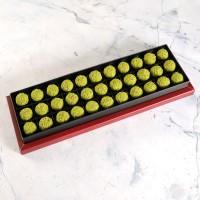 Antep Fıstıklı Truffle Çikolata Bordo Kutu 33 Adet - Thumbnail