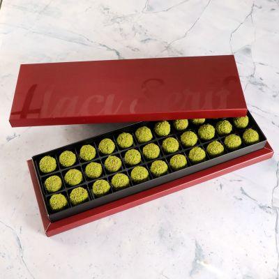 Antep Fıstıklı Truffle Çikolata Bordo Kutu 33 Adet