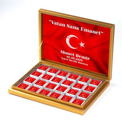 Hacı Şerif - Asker Çikolatası 48 Adet Madlen Çikolata Gold Kutu