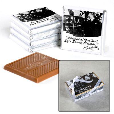 Hacı Şerif - Atatürk Temalı Öğretmenler Günü Hediyesi 40 Madlen Çikolata (Asetat Kutu)