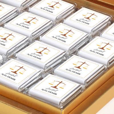 Avukata Özel Hediye 48 Adet Madlen Çikolata (Gold Kutu)