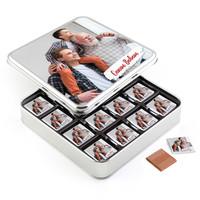 Hacı Şerif - Babaya Fotoğraflı Hediye 32 Adet Madlen Çikolata (Metal Kutu)