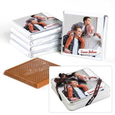Babaya Fotoğraflı Hediye 32 Adet Madlen Çikolata (Metal Kutu)