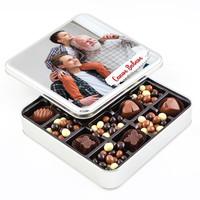 Hacı Şerif - Babaya Fotoğraflı Hediye Kahve Drajeli Special Çikolata (Metal Kutu)