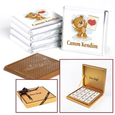 Canım Kendime Hediye Madlen Çikolata ( Ayıcık )- Gold Kutu