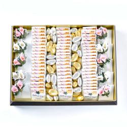 Hacı Şerif - Çiçek Dekorlu Söz-Nişan Çikolatası (70 Adet Madlen Çikolata)