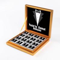 Damat Bohçası 32 Adet Madlen Çikolata (Model-1) Gold Kutu - Thumbnail