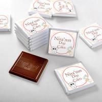 İlk Diş İsme Özel Kız Bebek Çikolatası (70 Adet Madlen) - Thumbnail