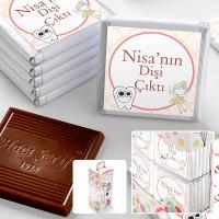 - İlk Diş İsme Özel Kız Bebek Çikolatası (70 Adet Madlen)