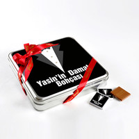 Damat Bohçası (32 Adet Madlen Çikolata) Metal Kutu (Model-1) - Thumbnail