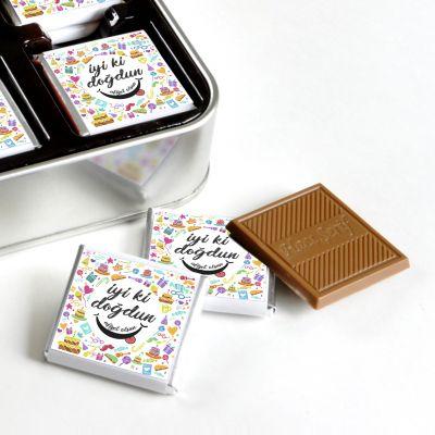 Doğum Günü Hediyesi (32 Adet Madlen Çikolata) Metal Kutu