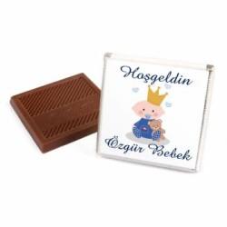 Erkek Bebek Çikolatası (72 Adet İsimli Madlen Çikolata + Sunum Kutusu) - Thumbnail