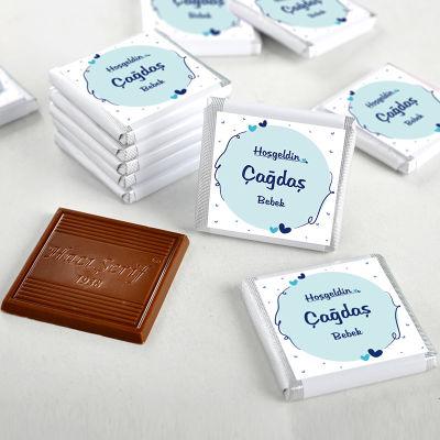 Erkek Bebek Çikolatası (72 Adet İsimli Madlen Çikolata + Sunum Kutusu)