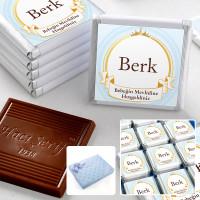 - Mevlid İsme Özel Erkek Bebek Çikolatası (72 Adet Madlen+Sunum Kutusu)