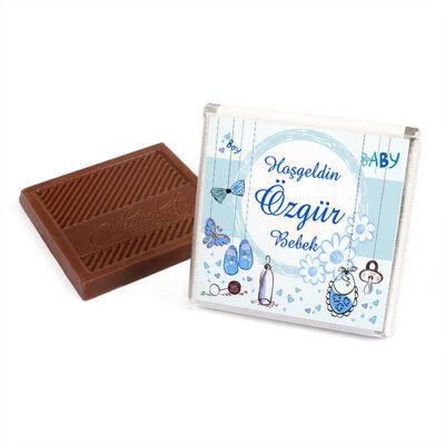 Etiket Baskılı Biblolu Erkek Bebek Çikolatası (Metal Yuvarlak Kutu) 70 Adet Madlen+Gül Suyu Hediyeli