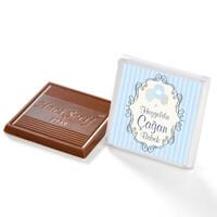Etiket Baskılı Biblolu Erkek Bebek Çikolatası (Metal Yuvarlak Kutu) 70 Adet Madlen+Gül Suyu Hediyeli - Thumbnail