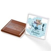 Etiket Baskılı Kurdeleli Biblolu Erkek Bebek Çikolatası (Metal Yuvarlak Kutu) 60 Adet Madlen - Thumbnail
