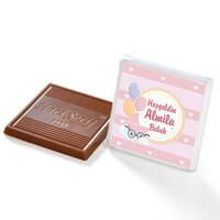 Etiket Baskılı Kurdeleli Biblolu Kız Bebek Çikolatası (Metal Yuvarlak Kutu) 60 Adet Madlen - Thumbnail