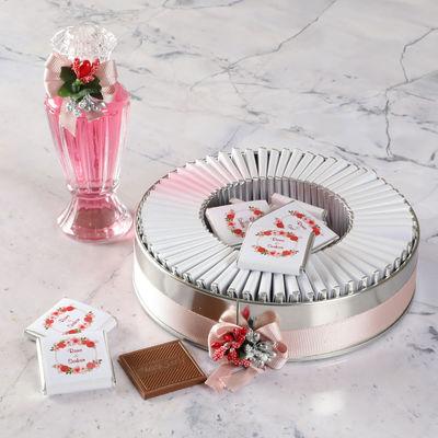 Etiket Baskılı Söz-Nişan Çikolatası (Metal Yuvarlak Kutu) 70 Adet Madlen Çikolata+Gül Suyu Hediyeli
