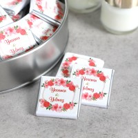 Etiket Baskılı Yuvarlak Metal Kutuda Söz-Nişan Çikolatası (40 Adet Madlen) + Mum - Thumbnail