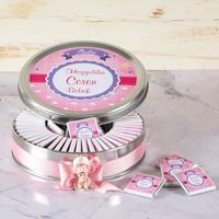 Etiketli Kız Bebek Çikolatası (Metal Yuvarlak Kutu) 70 Adet Madlen+Kolonya+Afiş - Thumbnail