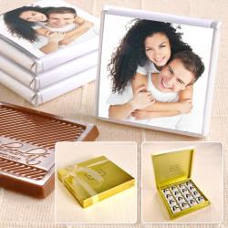 - Fotoğraflı 32 Madlen Çikolata 220g Gold Kutu
