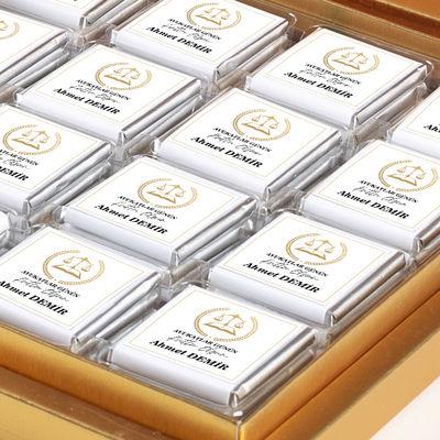 Fotoğraflı 5 Nisan Avukatlar Gününe Özel 32 Madlen Çikolata (Gold Kutu) Avukata Hediye