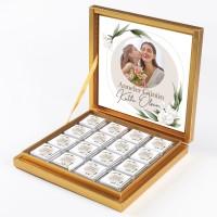 - Fotoğraflı Anneler Günü Hediyesi 32 Madlen Çikolata (Gold Kutu) Model:2