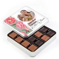 Hacı Şerif - Fotoğraflı Anneler Günü Hediyesi 48 Adet Madlen Çikolata (Metal Kutu) Model:1