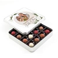 Hacı Şerif - Fotoğraflı Anneler Günü Hediyesi Karışık Special Truffle Çikolata (Metal Kutu) Model:2