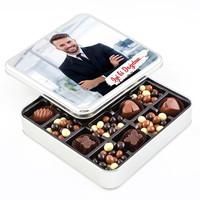 Hacı Şerif - Fotoğraflı Doğum Günü Hediyesi Kahve Drajeli Special Çikolata (Metal Kutu)