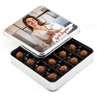 Hacı Şerif - Fotoğraflı Doğum Günü Hediyesi Tahinli Truffle Çikolata (Metal Kutu)