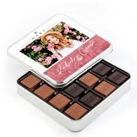Hacı Şerif - Fotoğraflı Kadınlar Günü Hediyesi 48 Adet Madlen Çikolata (Metal Kutu)