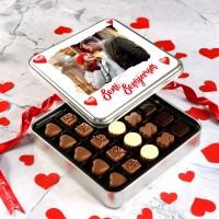 Hacı Şerif - Fotoğraflı Sevgililer Günü Hediye Special Çikolata (Metal Kutu) Model:1